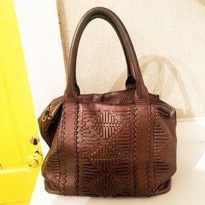 NANETTE LEPORE Woven Leather Shoulder Bag Copper